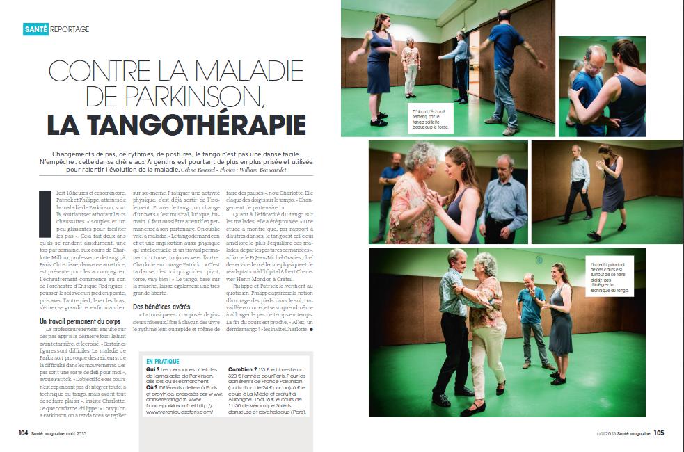 Article Tango et Parkinson dans Santé Magazine 2016