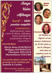 Stage intensif de Tango Argentin du 17 au 24 février 2018 @ Château de Ligoure