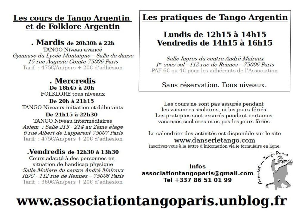Les cours et pratiques hebdomadaires à Paris de Tango Argentin et Folklore Argentin avec Charlotte Millour et Maximiliano Colussi