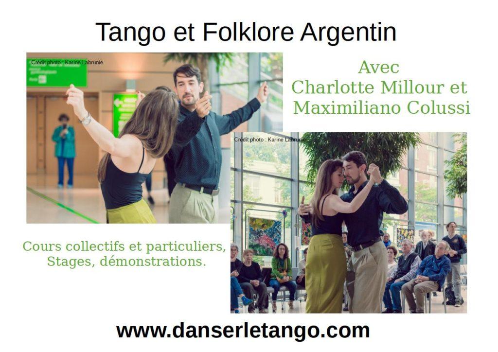 Les cours et stages de Tango Argentin et Folklore Argentin avec Charlotte Millour et Maximiliano Colussi