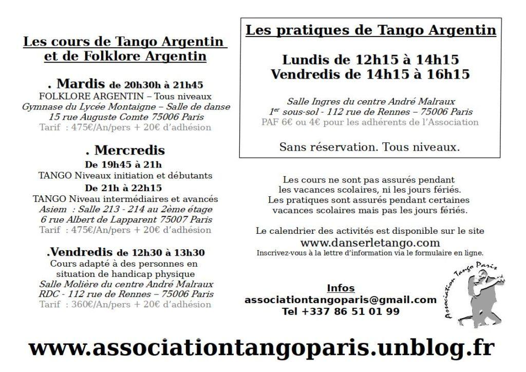 Cours Tango et Folklore Argentin à Paris